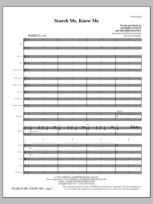 Search Me, Know Me - Full Score Sheet Music