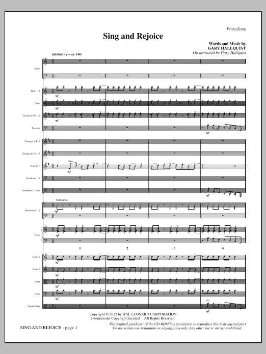 Sing and Rejoice (complete set of parts) sheet music for orchestra/band (Orchestra) by Gary Hallquist. Score Image Preview.