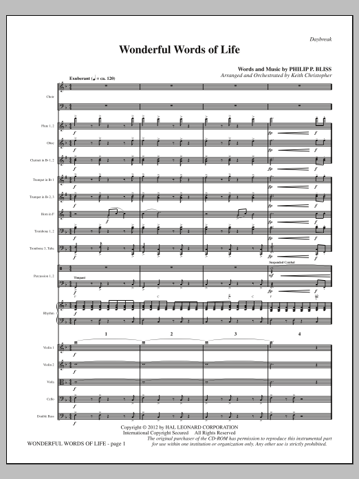 Wonderful Words of Life (complete set of parts) sheet music for orchestra/band (Orchestra) by Keith Christopher and Philip P. Bliss. Score Image Preview.