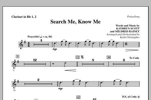 Search Me, Know Me - Bb Clarinet 1 & 2 Sheet Music