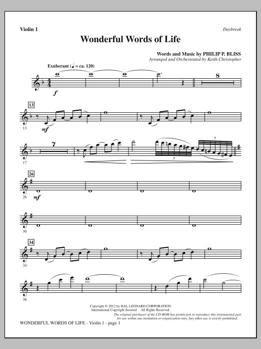 Wonderful Words of Life - Violin 1 Sheet Music