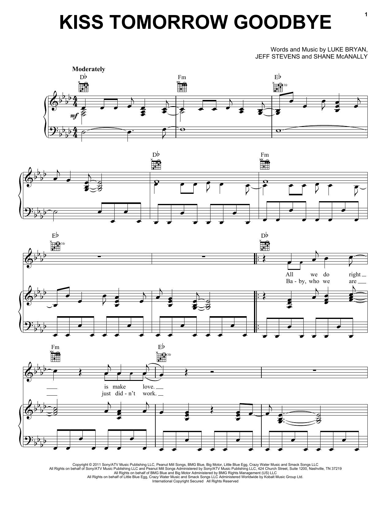 Kiss Tomorrow Goodbye (Piano, Vocal & Guitar (Right-Hand Melody))