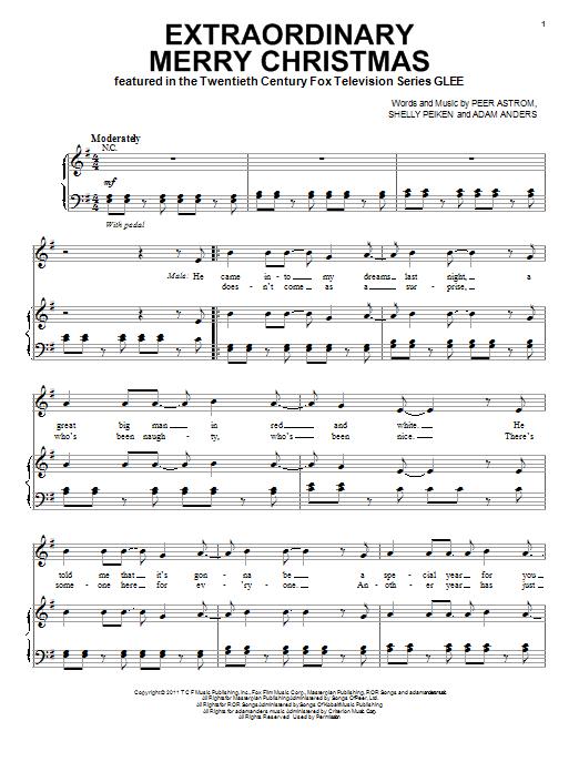 Partition piano Extraordinary Merry Christmas de Glee Cast - Piano Voix Guitare (Mélodie Main Droite)