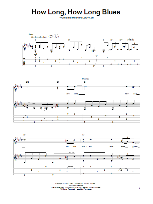 Tablature guitare How Long, How Long Blues de Leroy Carr - Tablature Guitare