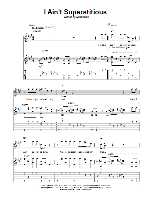 Tablature guitare I Ain't Superstitious de Willie Dixon - Tablature Guitare