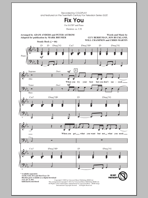 Partition chorale Fix You de Glee Cast - SATB