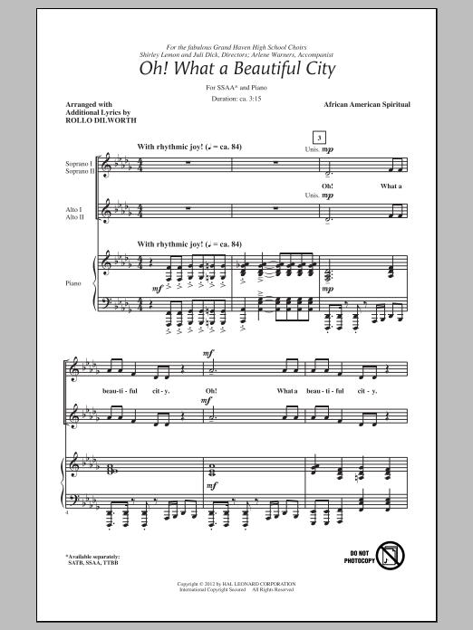 Oh, What A Beautiful City (arr. Rollo Dilworth) Sheet Music