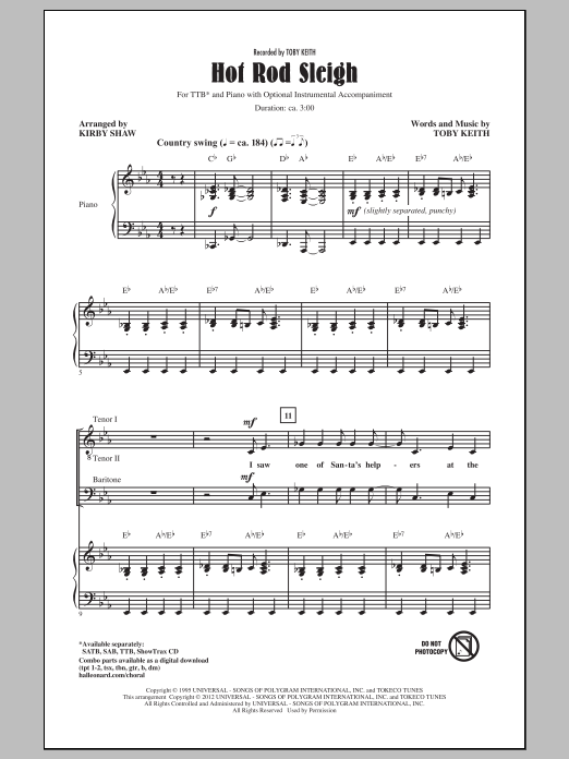 Hot Rod Sleigh (arr. Kirby Shaw) Sheet Music