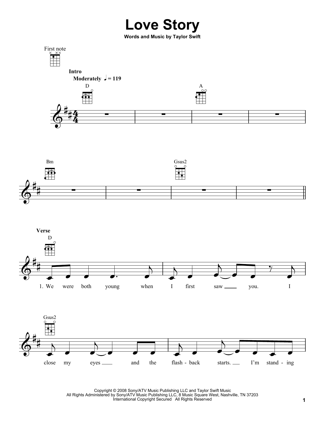 Tablature guitare Love Story de Taylor Swift - Ukulele