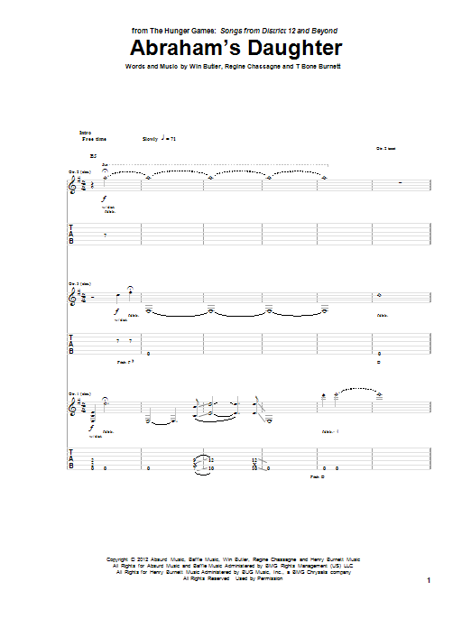 Tablature guitare Abraham's Daughter de Arcade Fire - Tablature Guitare