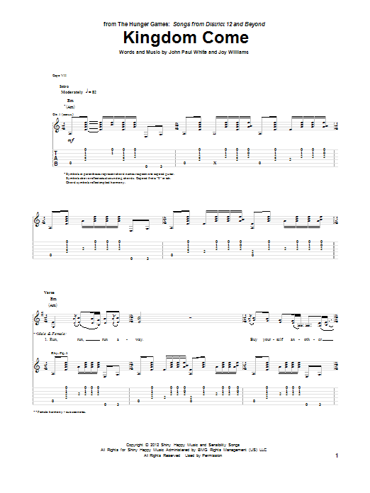 Tablature guitare Kingdom Come de The Civil Wars - Tablature Guitare