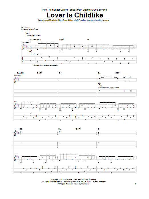 Tablature guitare Lover Is Childlike de The Low Anthem - Tablature Guitare