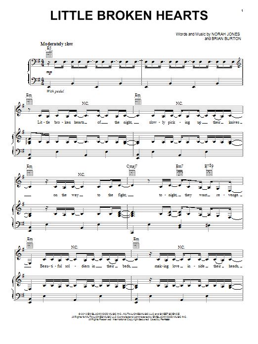 Little Broken Hearts Sheet Music