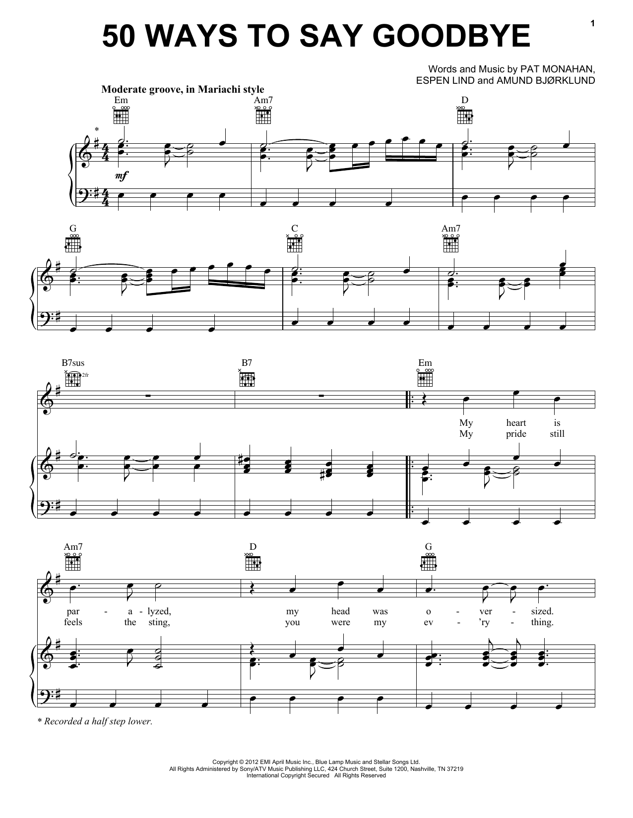 50 Ways To Say Goodbye Sheet Music