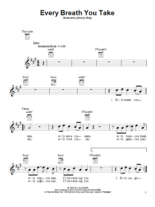 Tablature guitare Every Breath You Take de The Police - Ukulele
