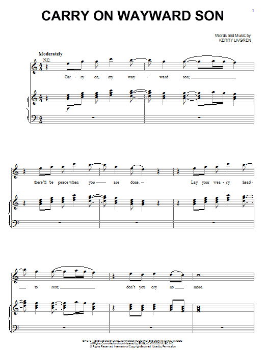 Carry On Wayward Son Sheet Music