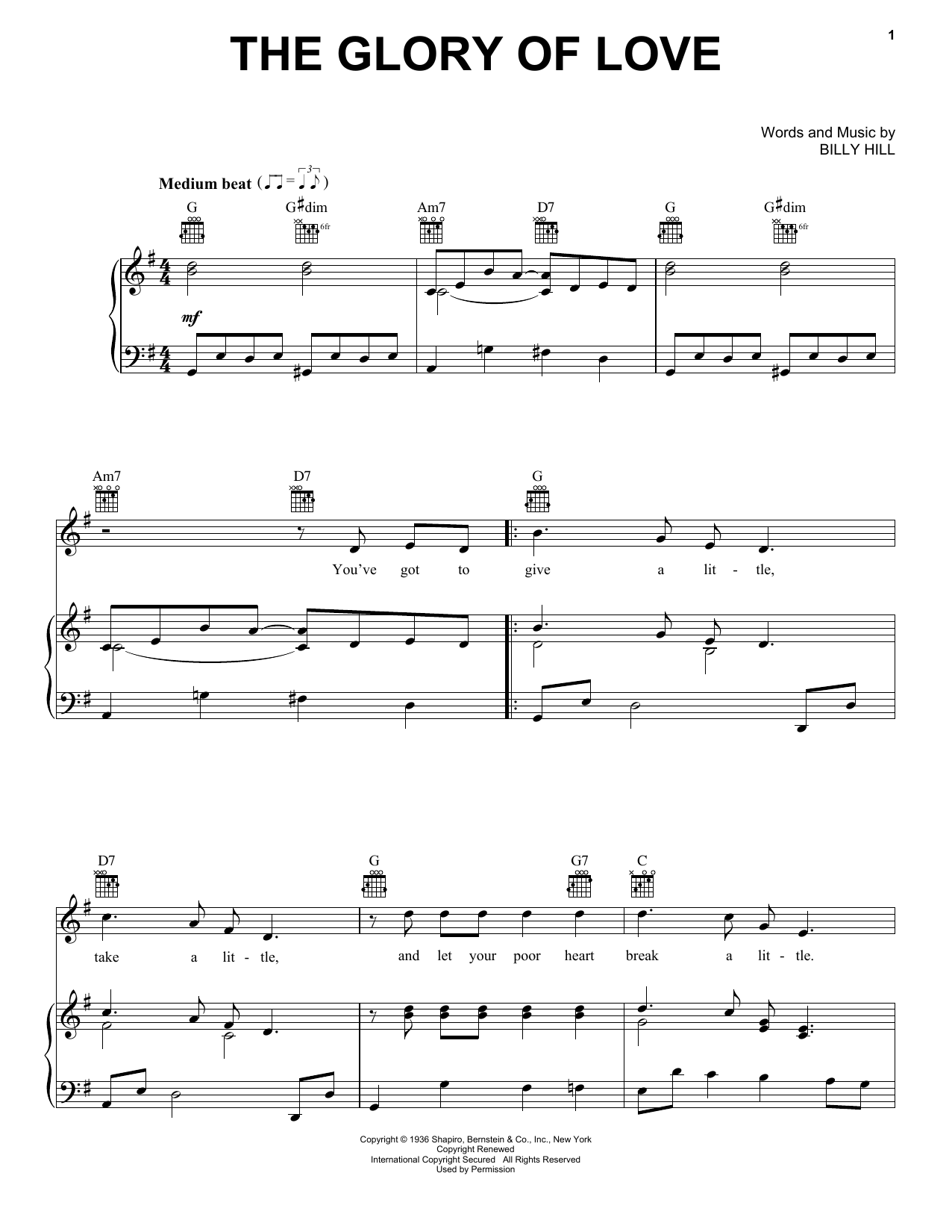 The Glory Of Love Sheet Music