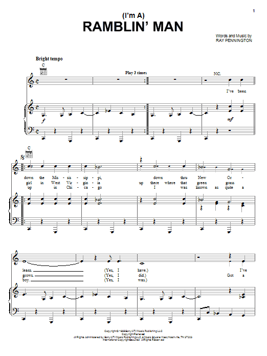 (I'm A) Ramblin' Man (Piano, Vocal & Guitar (Right-Hand Melody))