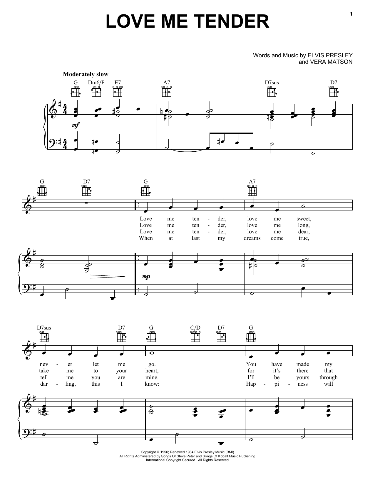 love me tender sheet music direct. Black Bedroom Furniture Sets. Home Design Ideas