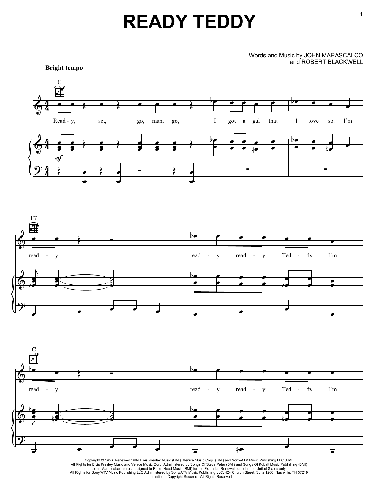 Ready Teddy Sheet Music