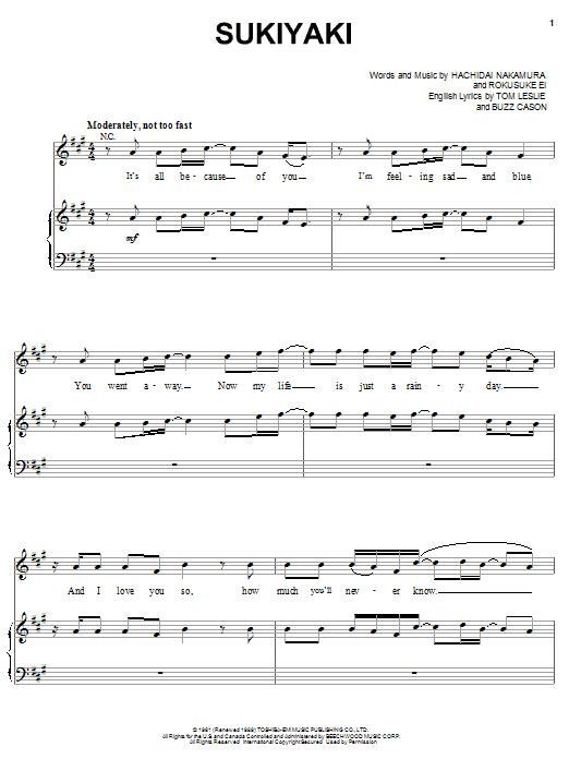 Partition piano Sukiyaki de 4 P.M. - Piano Voix Guitare (Mélodie Main Droite)