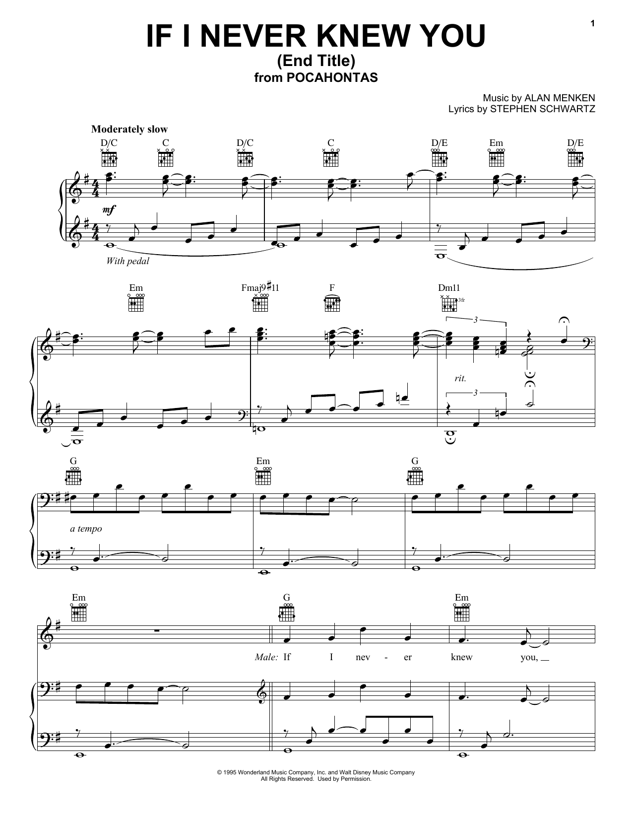 If I Never Knew You (Love Theme from POCAHONTAS) (Piano, Vocal & Guitar (Right-Hand Melody))