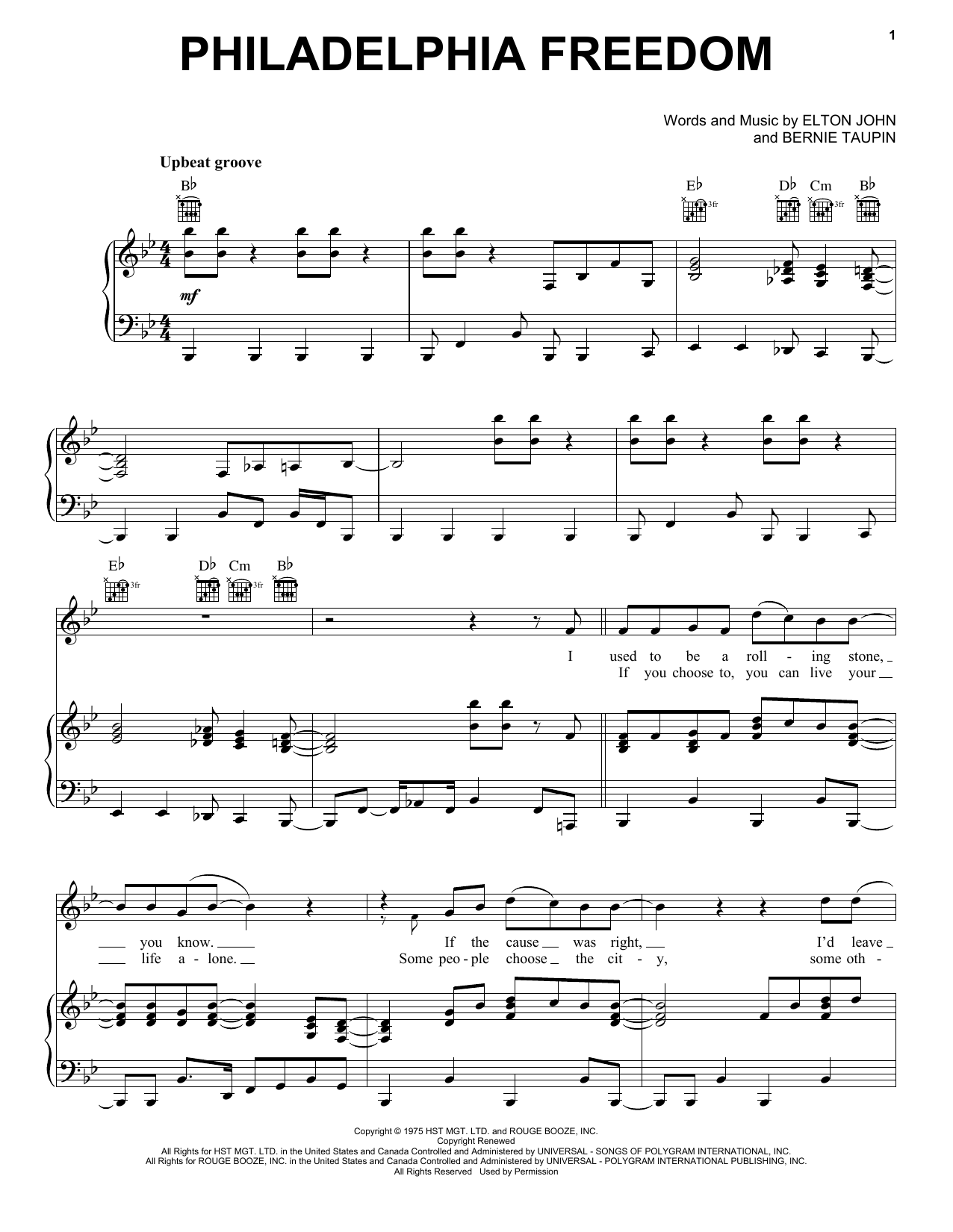 Philadelphia Freedom (Piano, Vocal & Guitar (Right-Hand Melody))