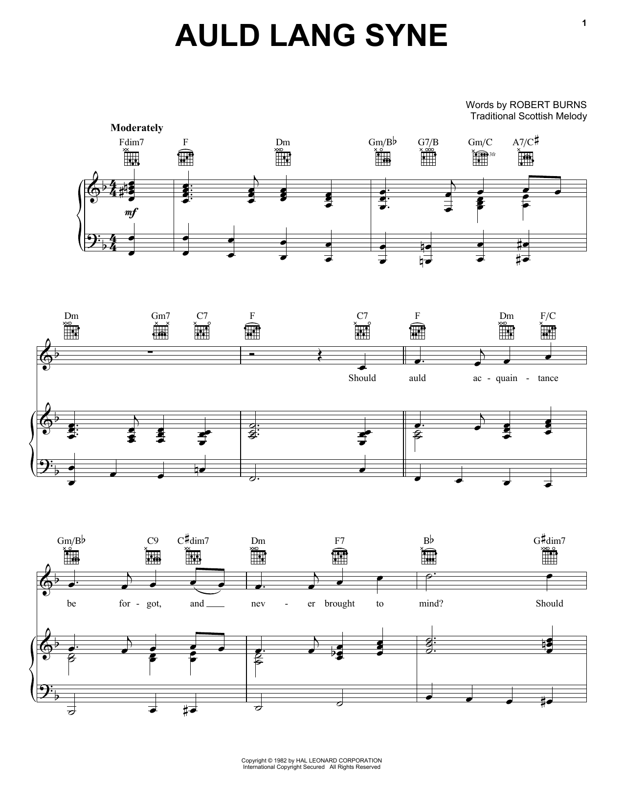 Auld Lang Syne sheet music by Robert Burns (Piano, Vocal u0026 Guitar (Right-Hand Melody) u2013 16526)