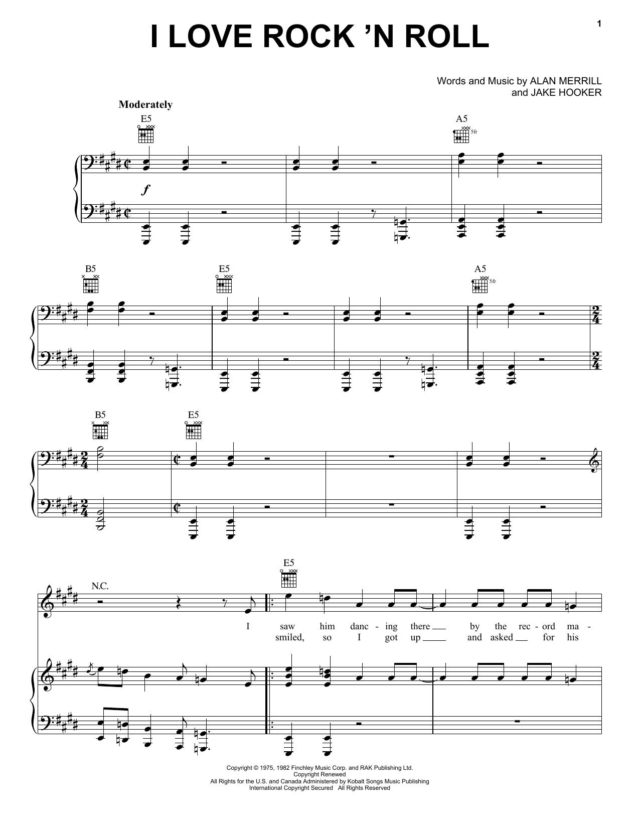Partition piano I Love Rock 'N Roll de Joan Jett and The Blackhearts - Piano Voix Guitare (Mélodie Main Droite)