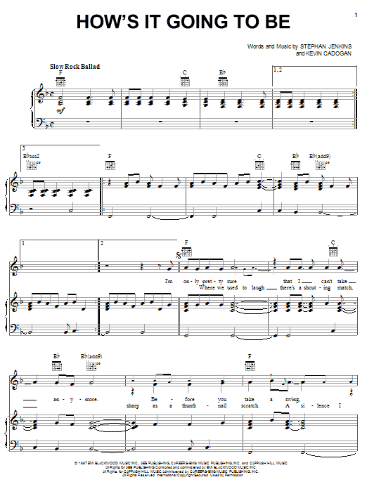 How's It Going To Be (Piano, Vocal & Guitar (Right-Hand Melody))