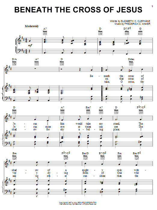 Beneath The Cross Of Jesus (Piano, Vocal & Guitar (Right-Hand Melody))