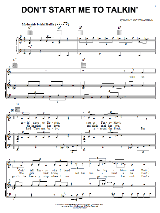 Don't Start Me To Talkin' (Piano, Vocal & Guitar (Right-Hand Melody))
