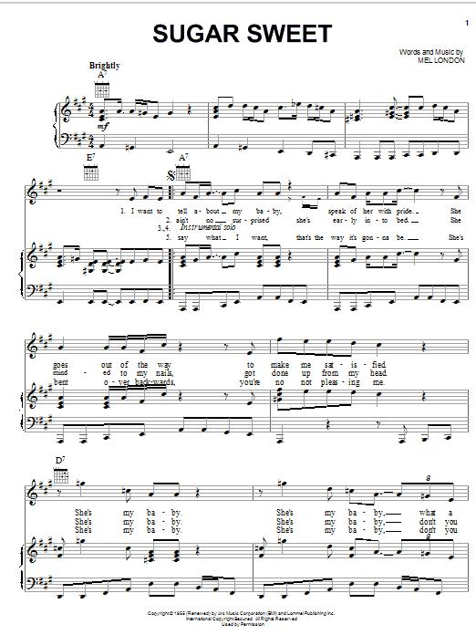 Sugar Sweet (Piano, Vocal & Guitar (Right-Hand Melody))