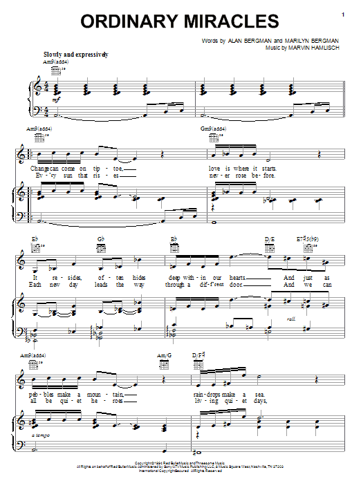 Partition piano Ordinary Miracles de Barbra Streisand - Piano Voix Guitare (Mélodie Main Droite)