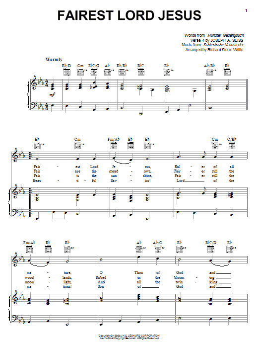Fairest Lord Jesus Sheet Music