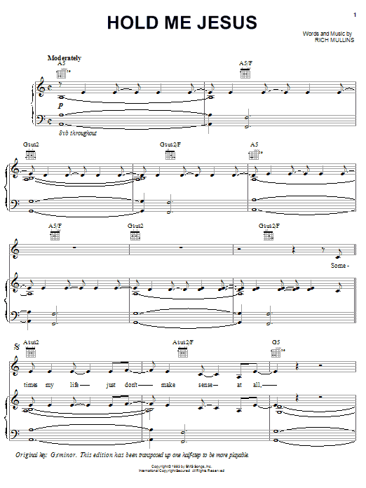 Hold Me Jesus Sheet Music