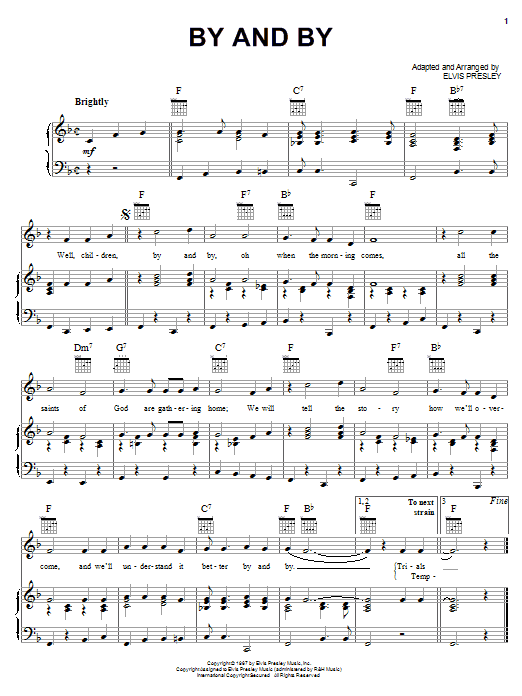 By And By (Piano, Vocal & Guitar (Right-Hand Melody))