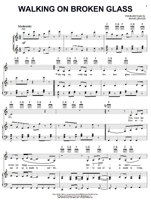 Walking On Broken Glass (Piano, Vocal & Guitar (Right-Hand Melody))