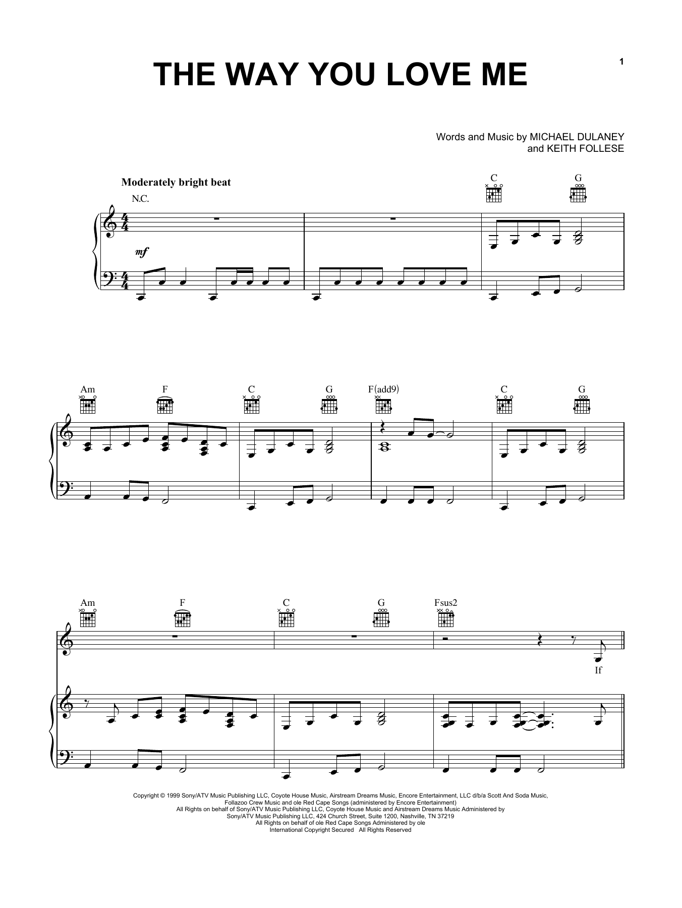 The Way You Love Me Sheet Music