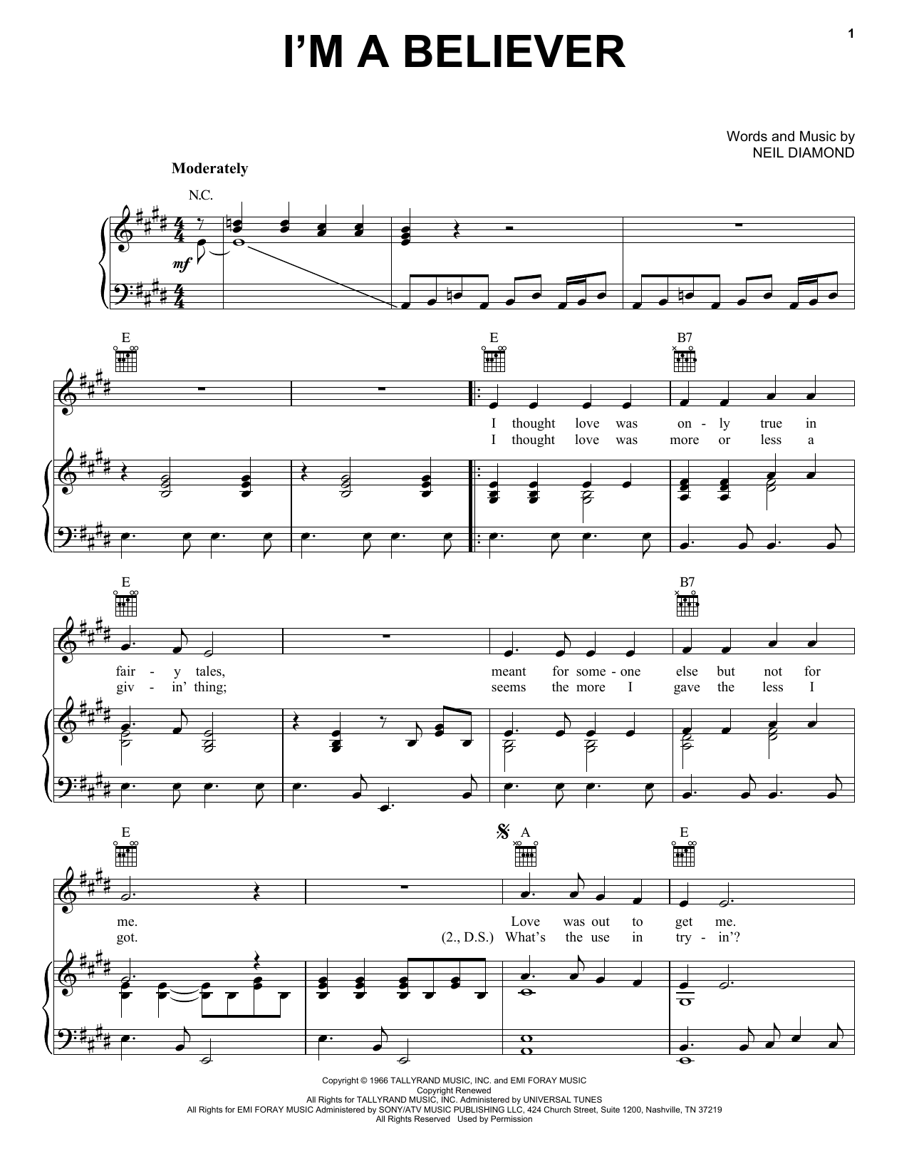 Im A Believer Piano Sheet Music By The Monkees Piano Voice Guitar