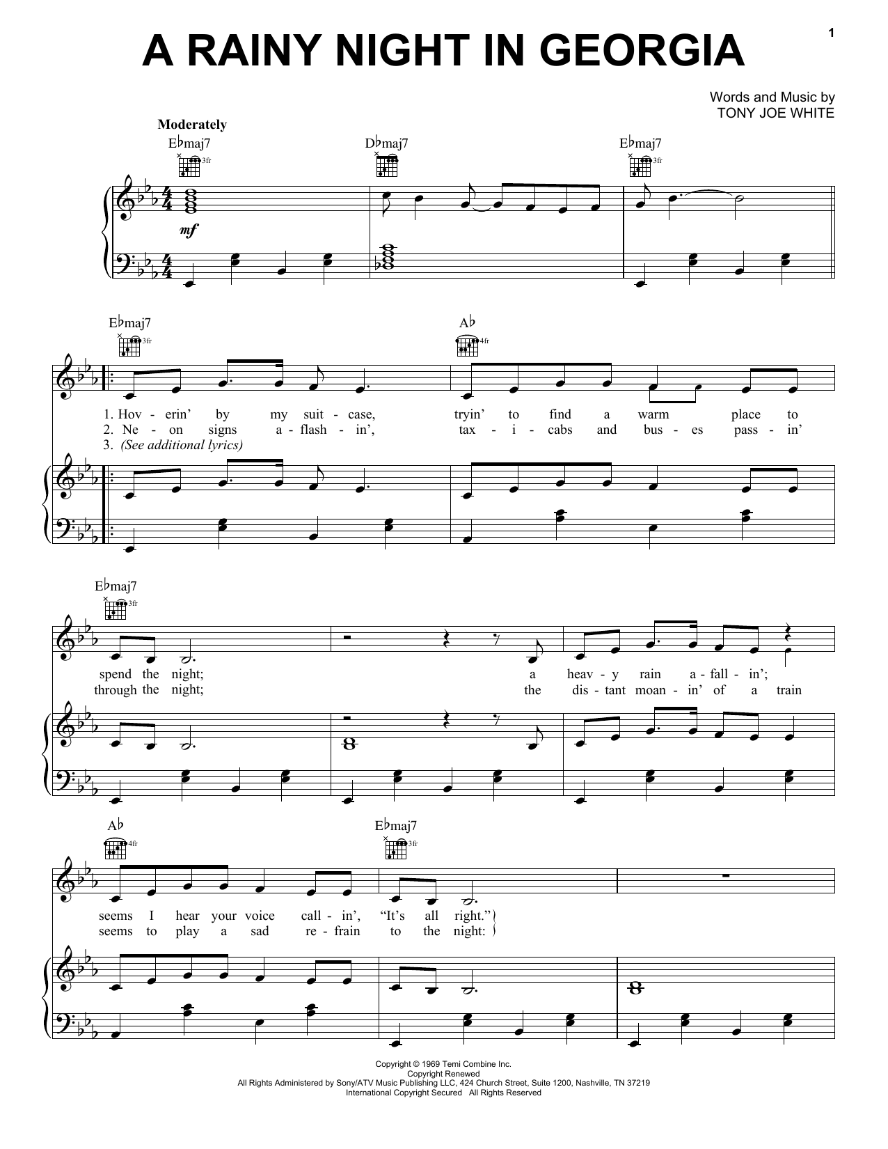 A Rainy Night In Georgia Sheet Music