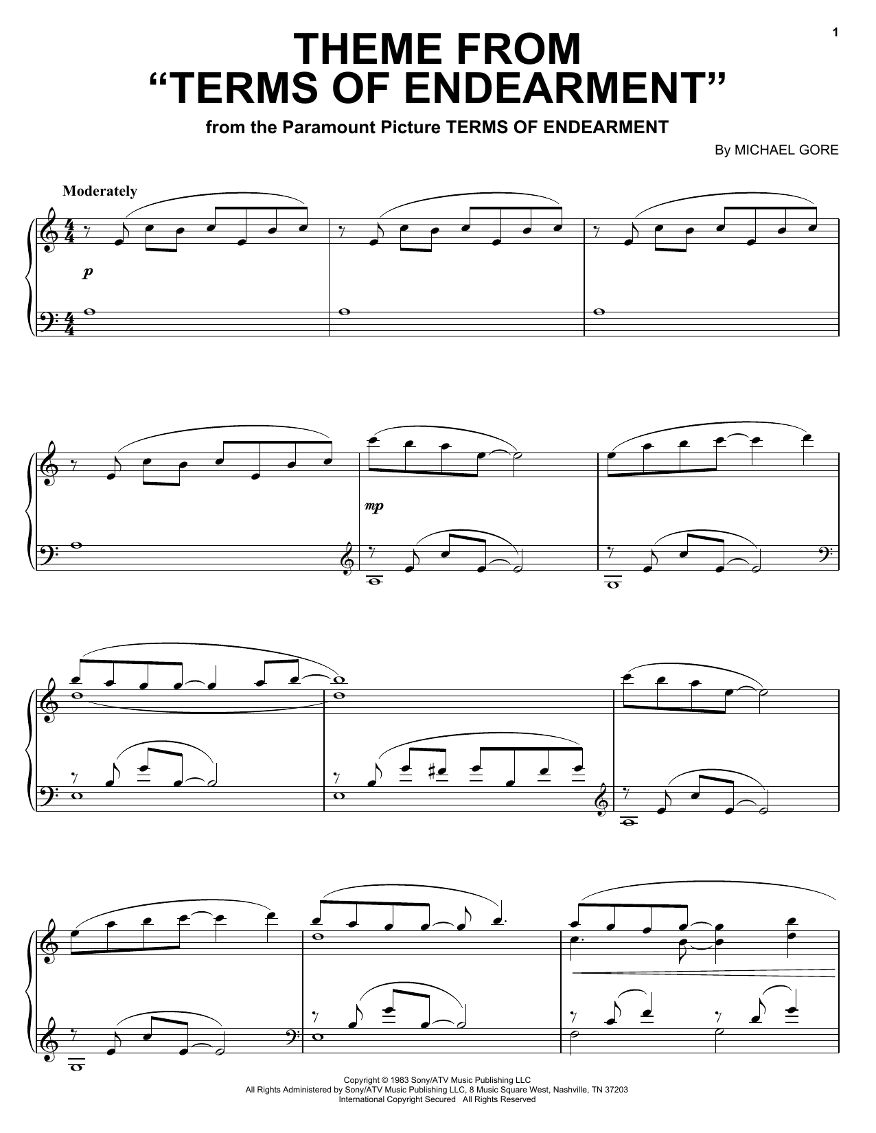 Theme from Terms Of Endearment Sheet Music