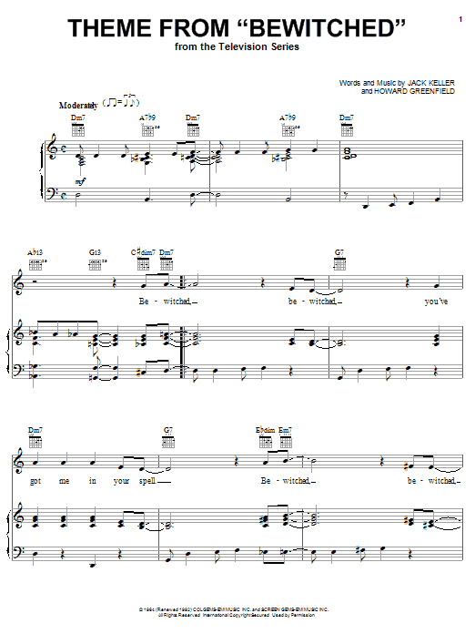 Theme from Bewitched (Piano, Vocal & Guitar (Right-Hand Melody))
