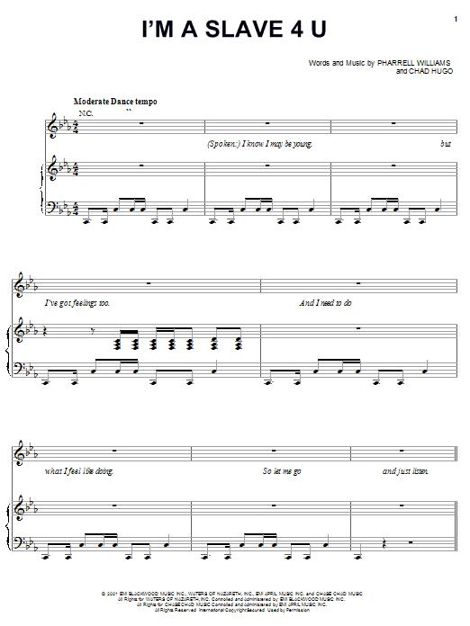 I'm A Slave 4 U (Piano, Vocal & Guitar (Right-Hand Melody))