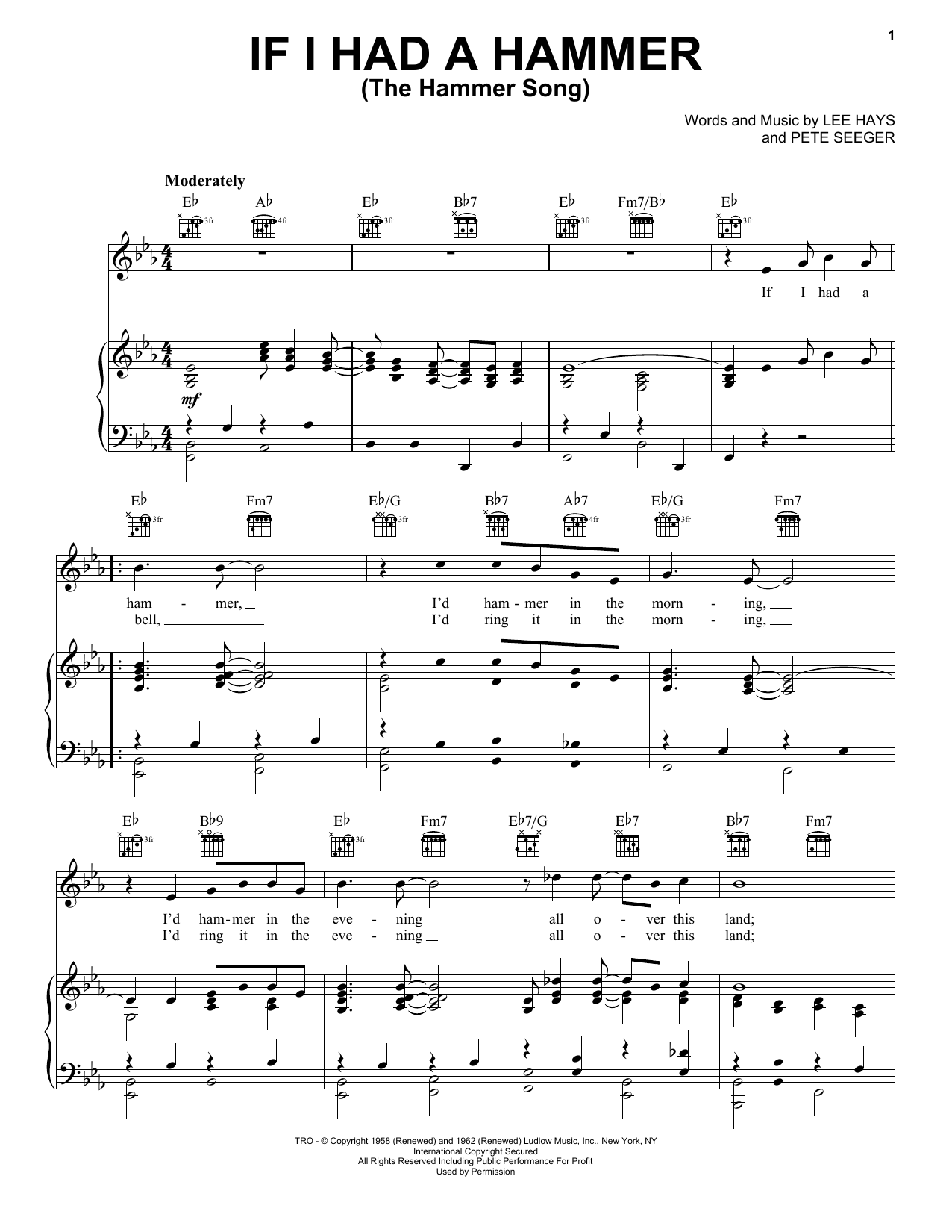 If I Had A Hammer (The Hammer Song) Sheet Music