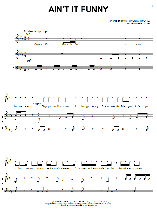 Ain't It Funny (Piano, Vocal & Guitar (Right-Hand Melody))