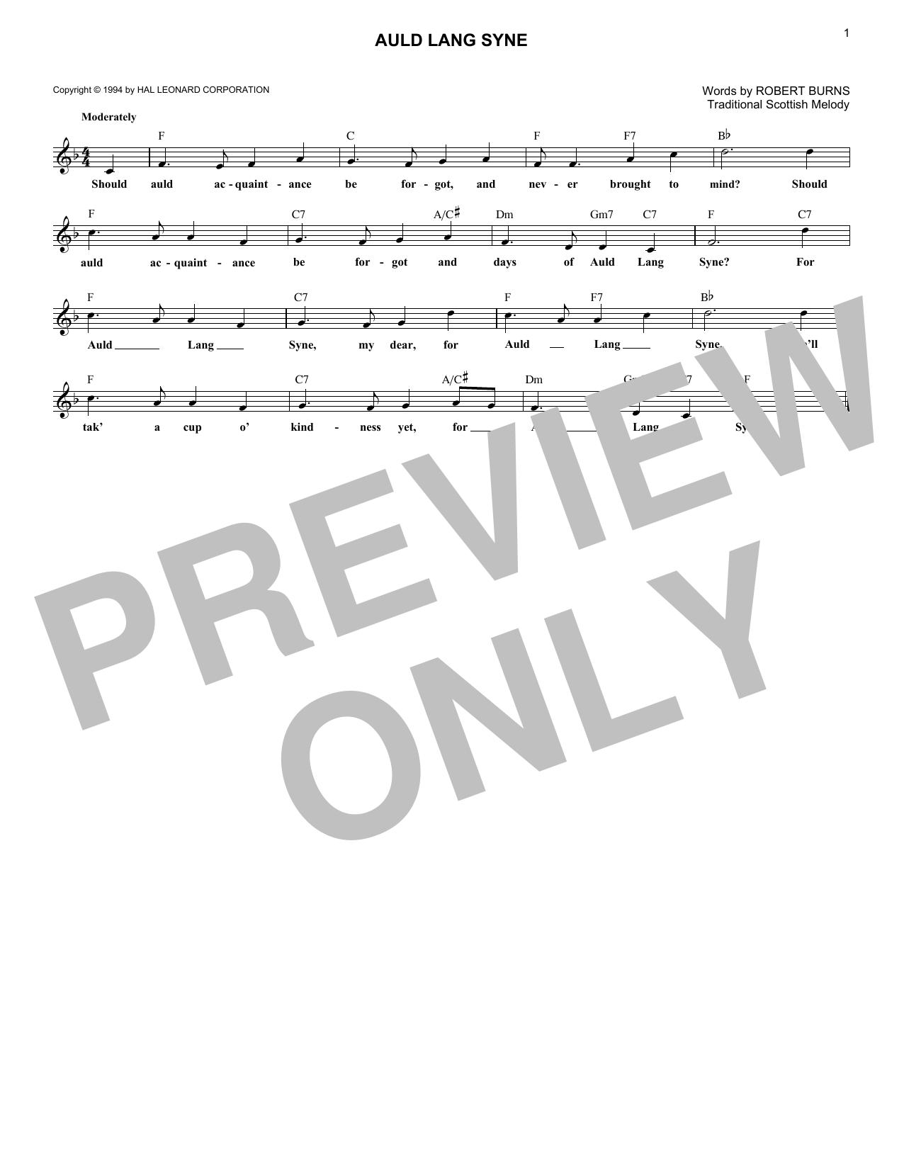 Auld Lang Syne (Lead Sheet / Fake Book)