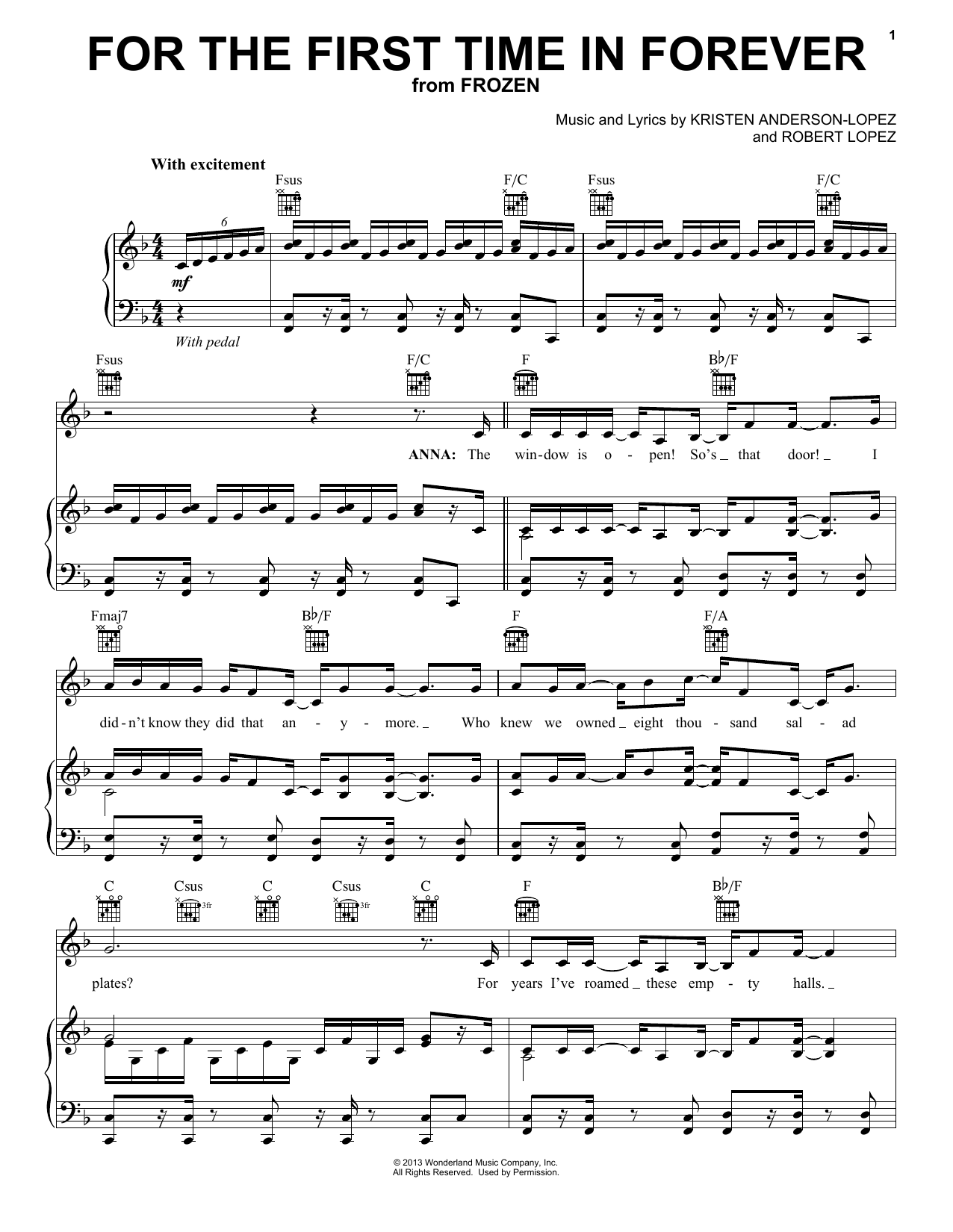 For The First Time In Forever Sheet Music