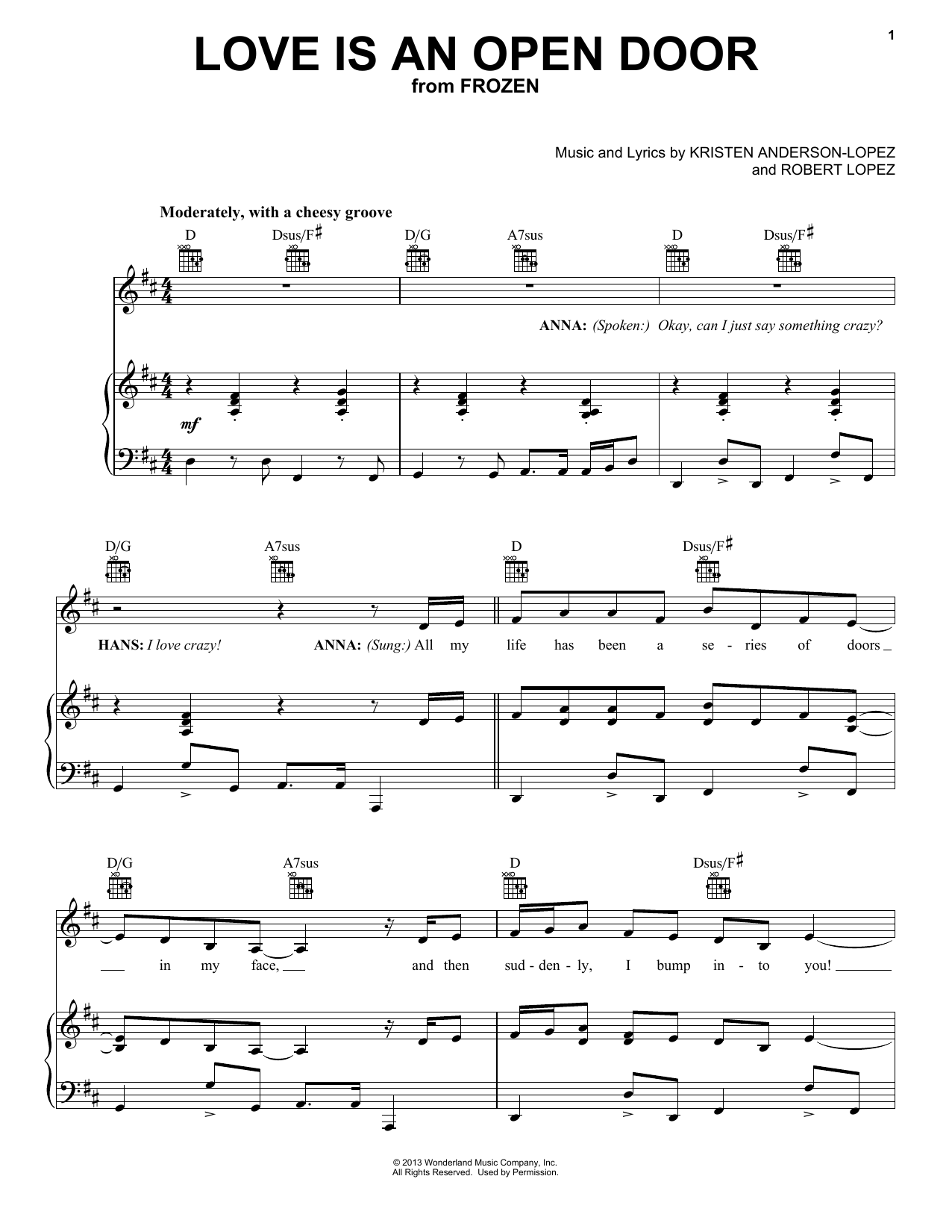Love Is An Open Door Sheet Music