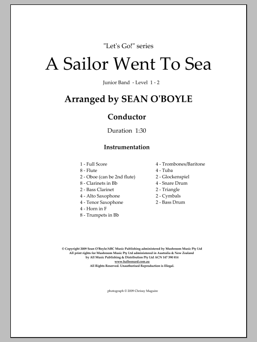 A Sailor Went To Sea (COMPLETE) sheet music for concert band by Sean O'Boyle. Score Image Preview.